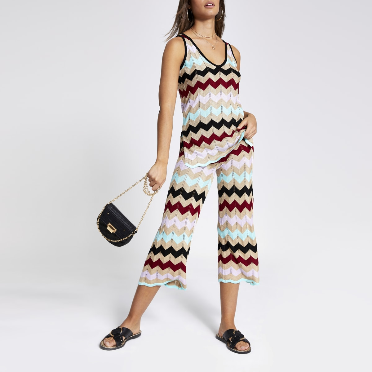 Gold multicolored chevron stripe culottes