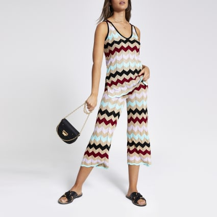 Gold multicoloured chevron stripe culottes
