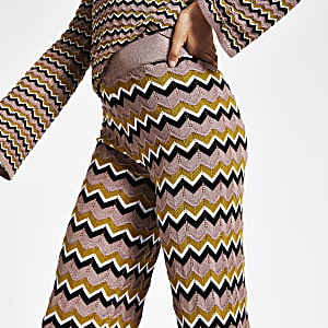 Beige zig zag print knitted trousers