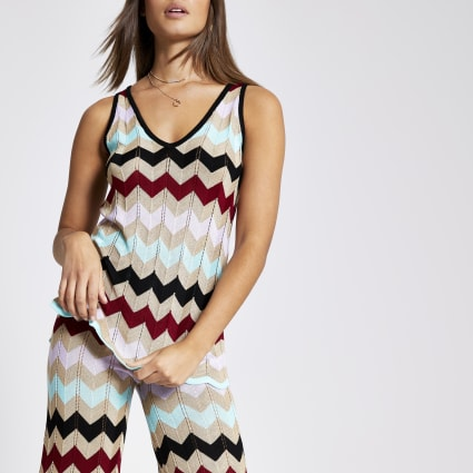 Gold multicoloured chevron stripe knit vest
