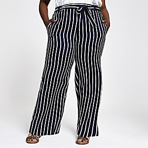 Plus navy stripe wide leg pants