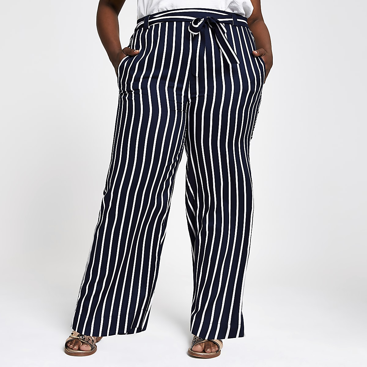 Plus navy stripe wide leg trousers