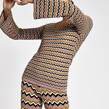 Beige zig zag print knitted top