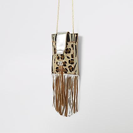 Brown leather tassel trim mini cross body bag
