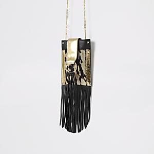 Petit sac bandoulière en cuir noir à franges