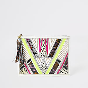 White leather sequin embellished pouch clutch