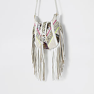 White leather animal print tassel bag