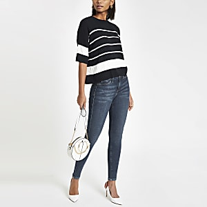 Navy oversized stripe top