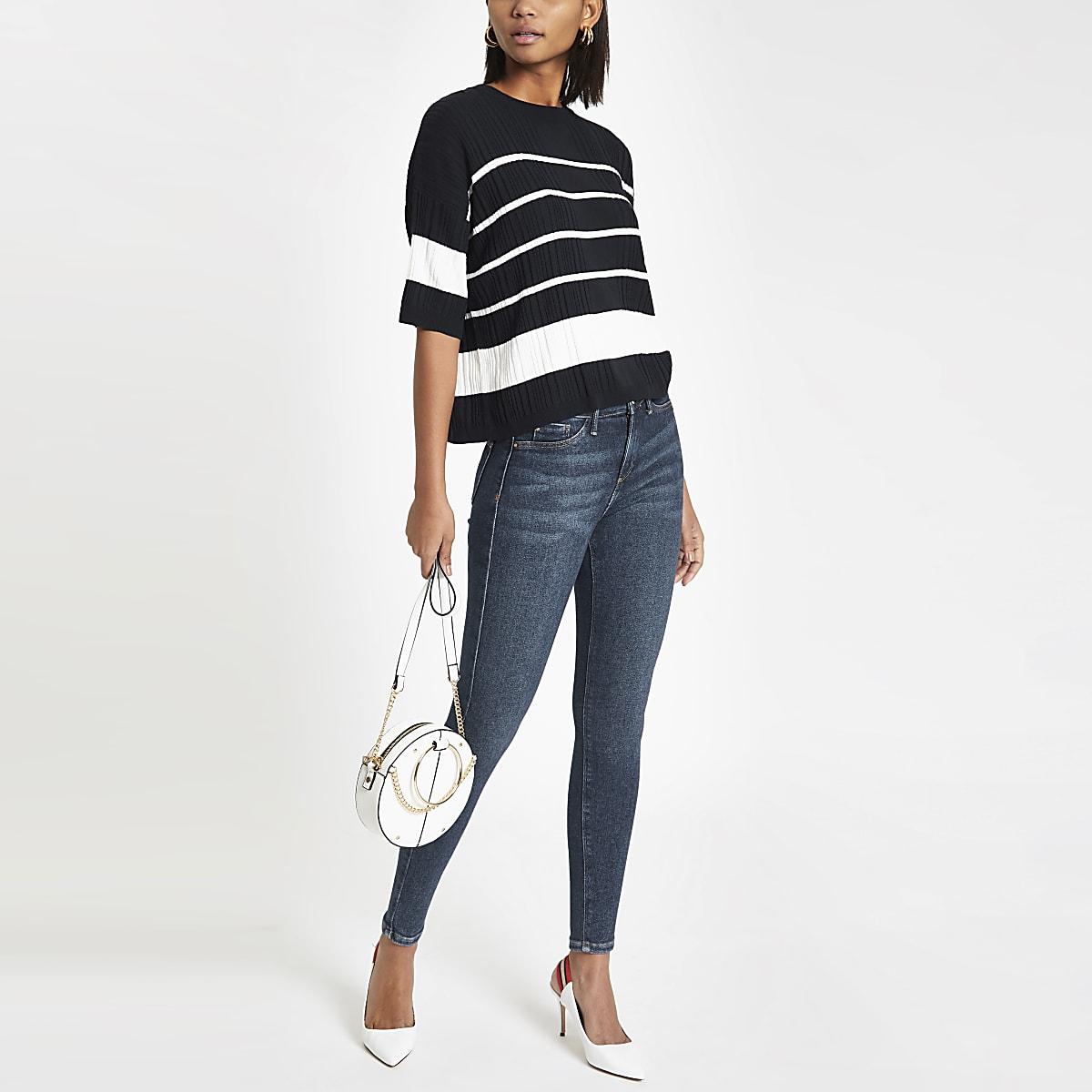 Navy oversized stripe top