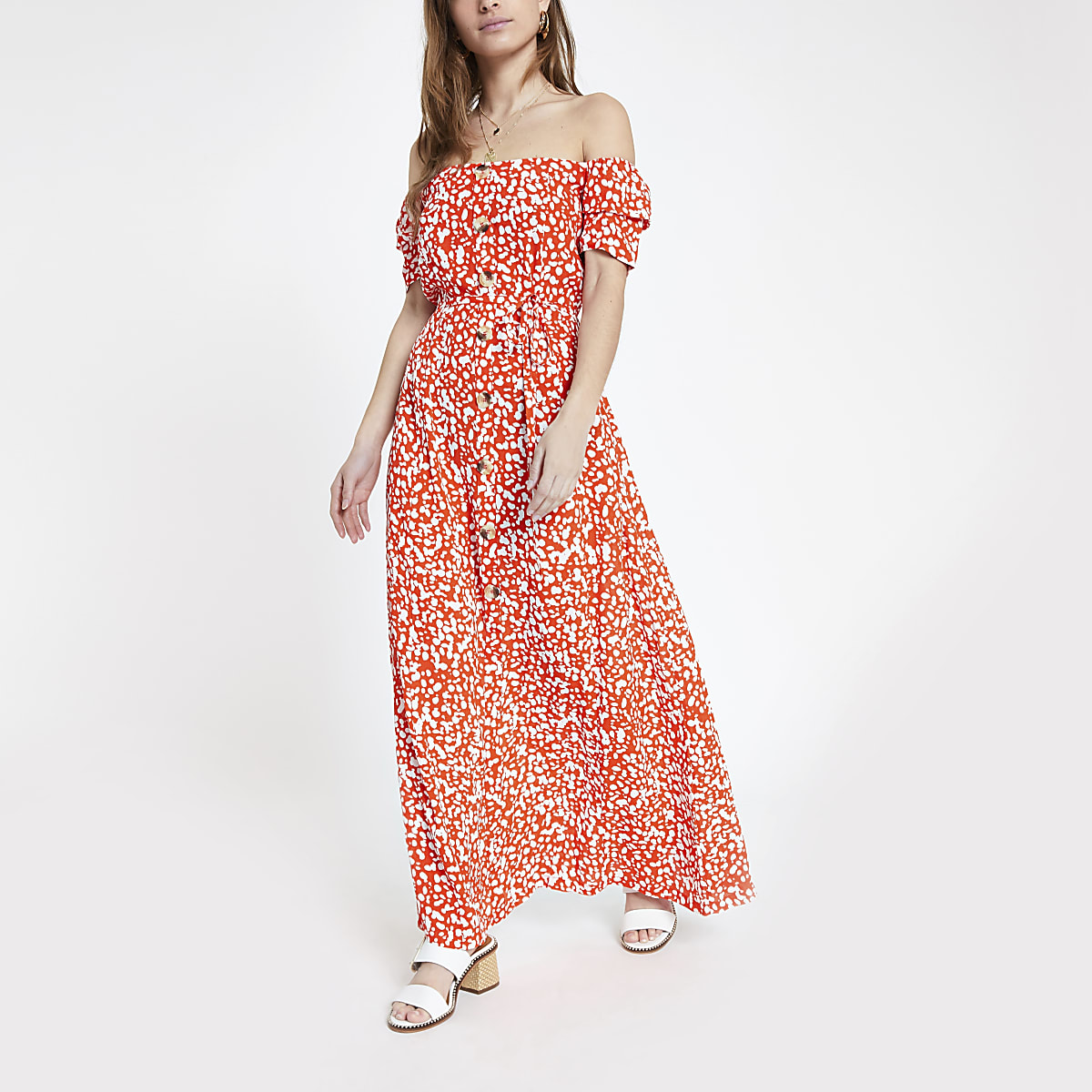 Petite red print bardot maxi dress