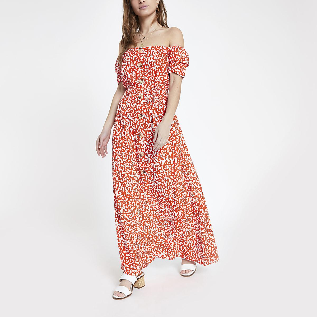 Petite red print bardot maxi dress