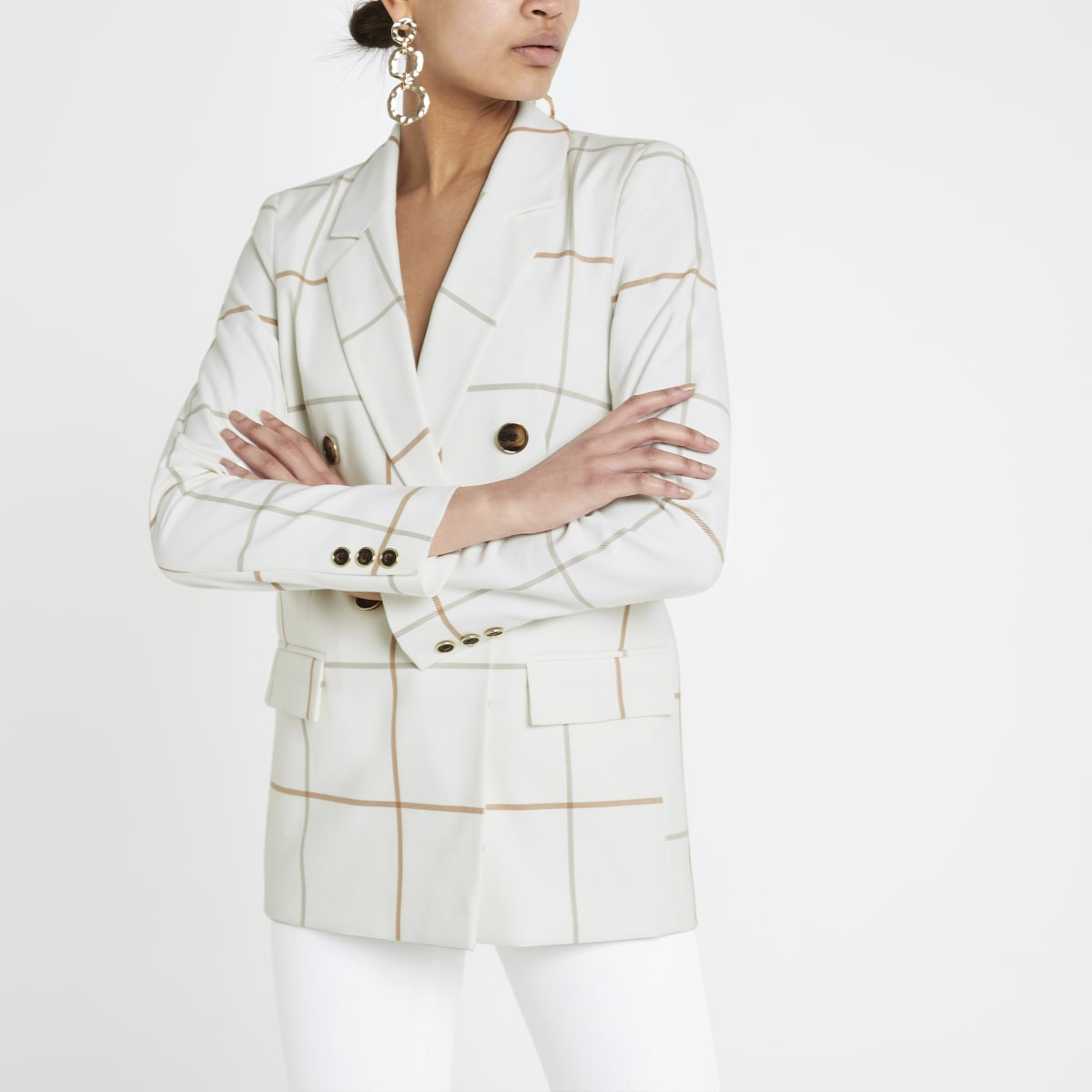 Cream check double breasted blazer
