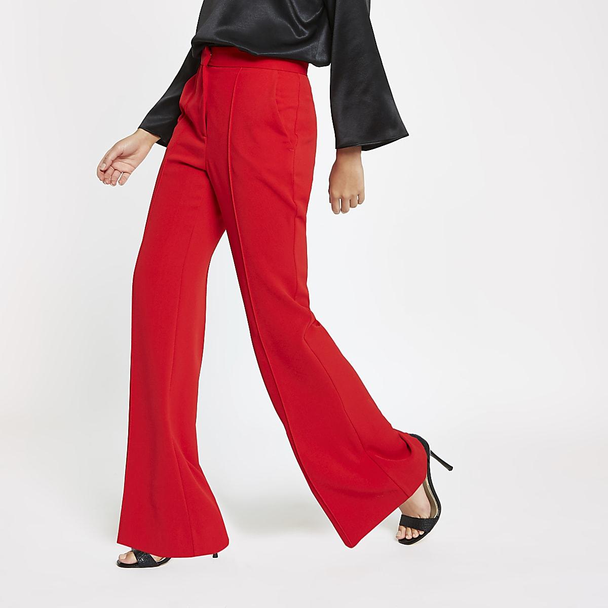 Pantalon évasé rouge