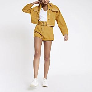 Senfgelbe, kurze Jeansjacke