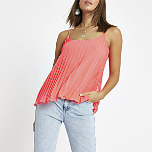 Bright pink pleated cami top