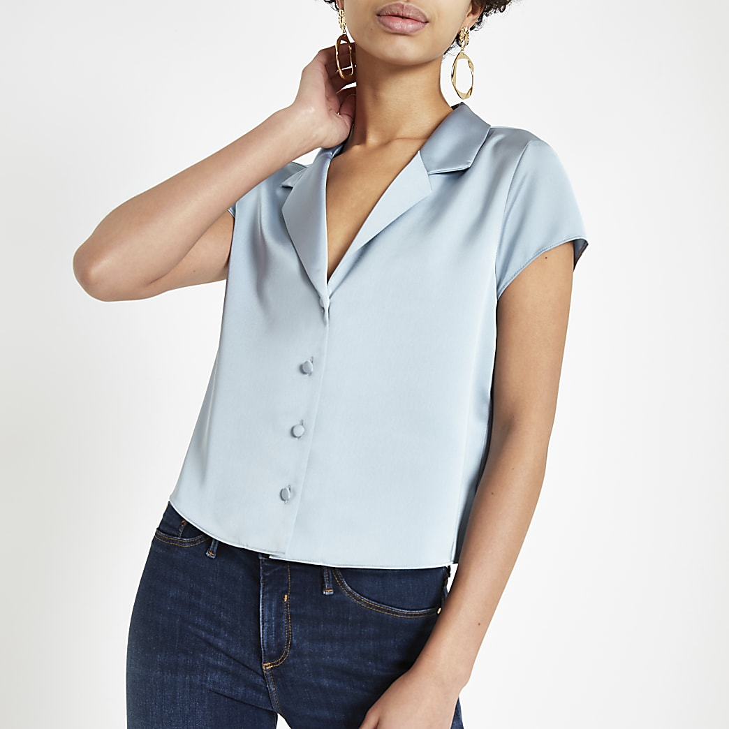 Blue satin crop shirt