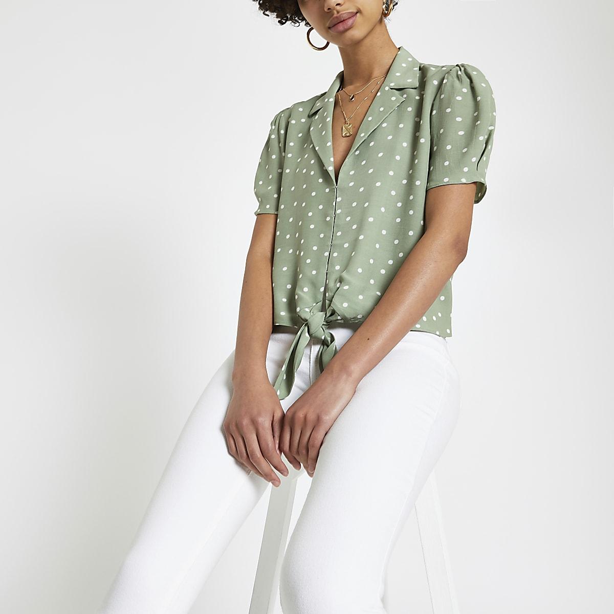 Green spot tie front crop shirt