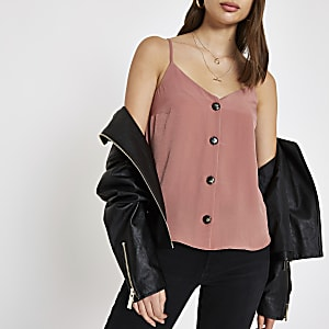 Pink button front cami top