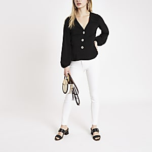 Black button front long sleeve tea top