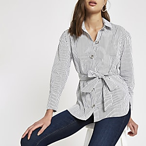 White stripe tie waist shirt