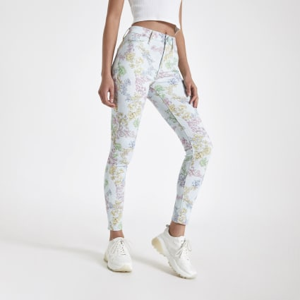 Light blue Molly baroque print jeggings