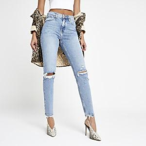 Jean slim original bleu moyen usé