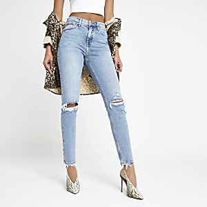 Original - Middelblauwe smalle distressed jeans