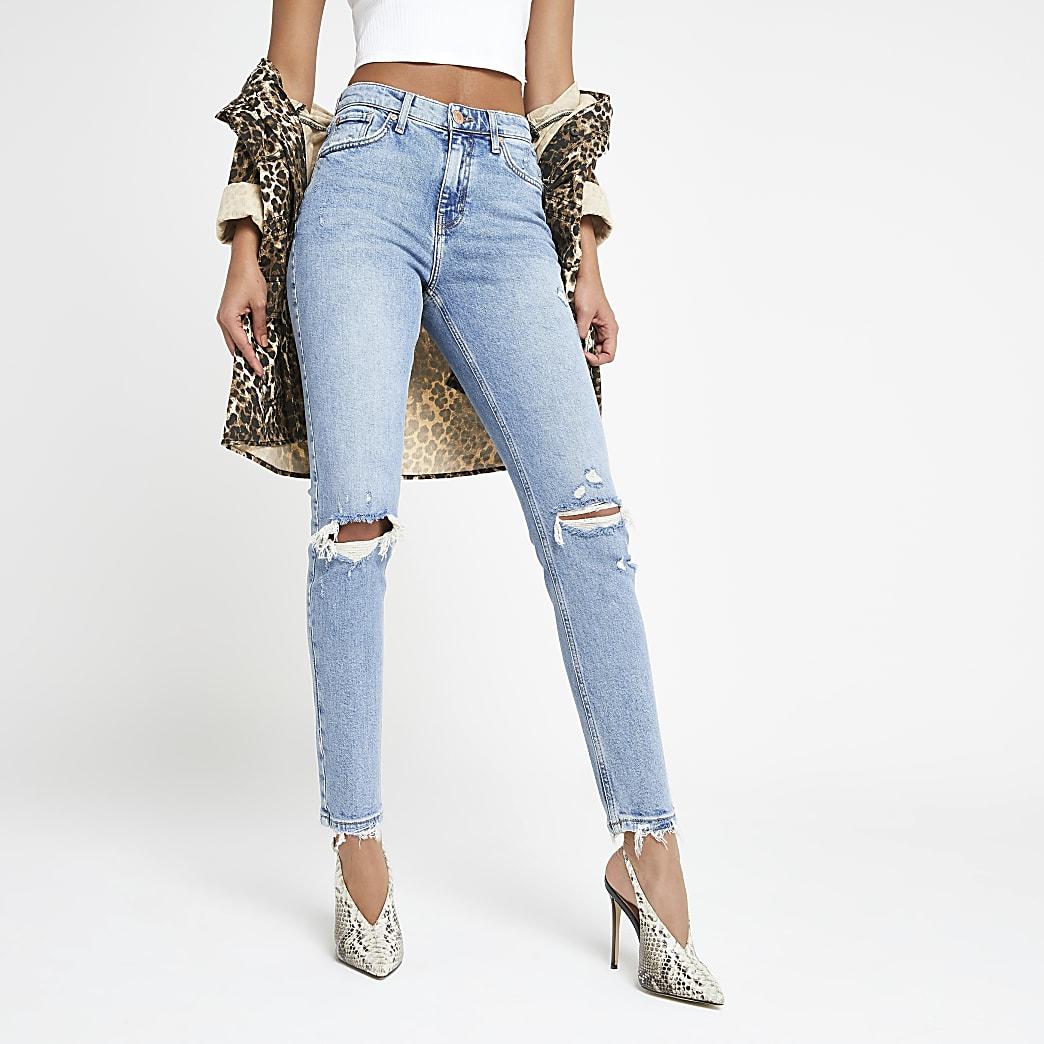Original - Middelblauwe smalle distressed jeans