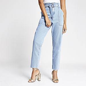 Helle Jeans mit Paperbag-Taille