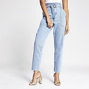 Lichte denim jeans met geplooide taille