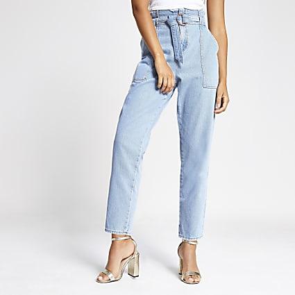 Light denim paperbag waist jeans