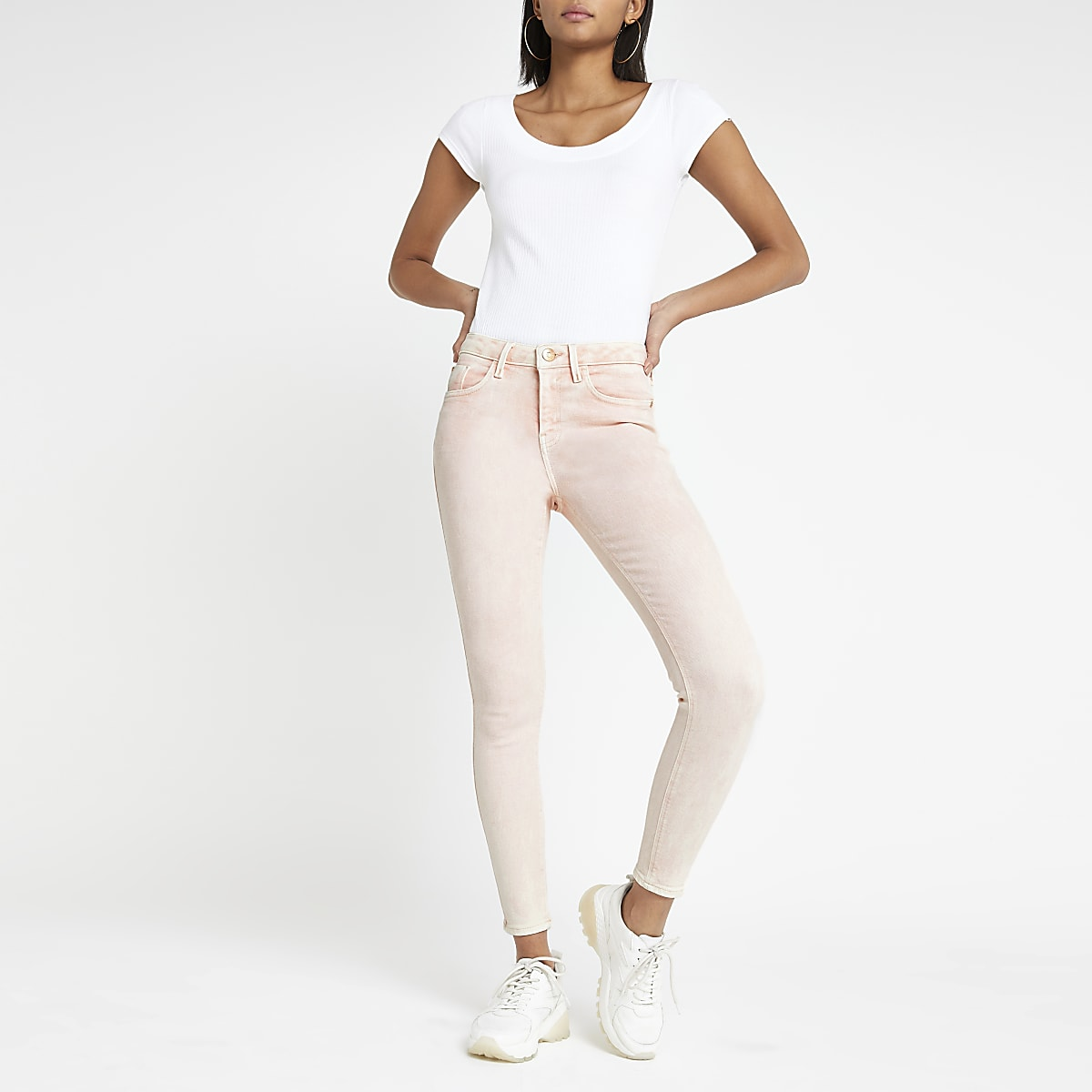 Amelie - Roze superskinny jeans