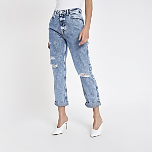 Mid blue Mom ripped jeans