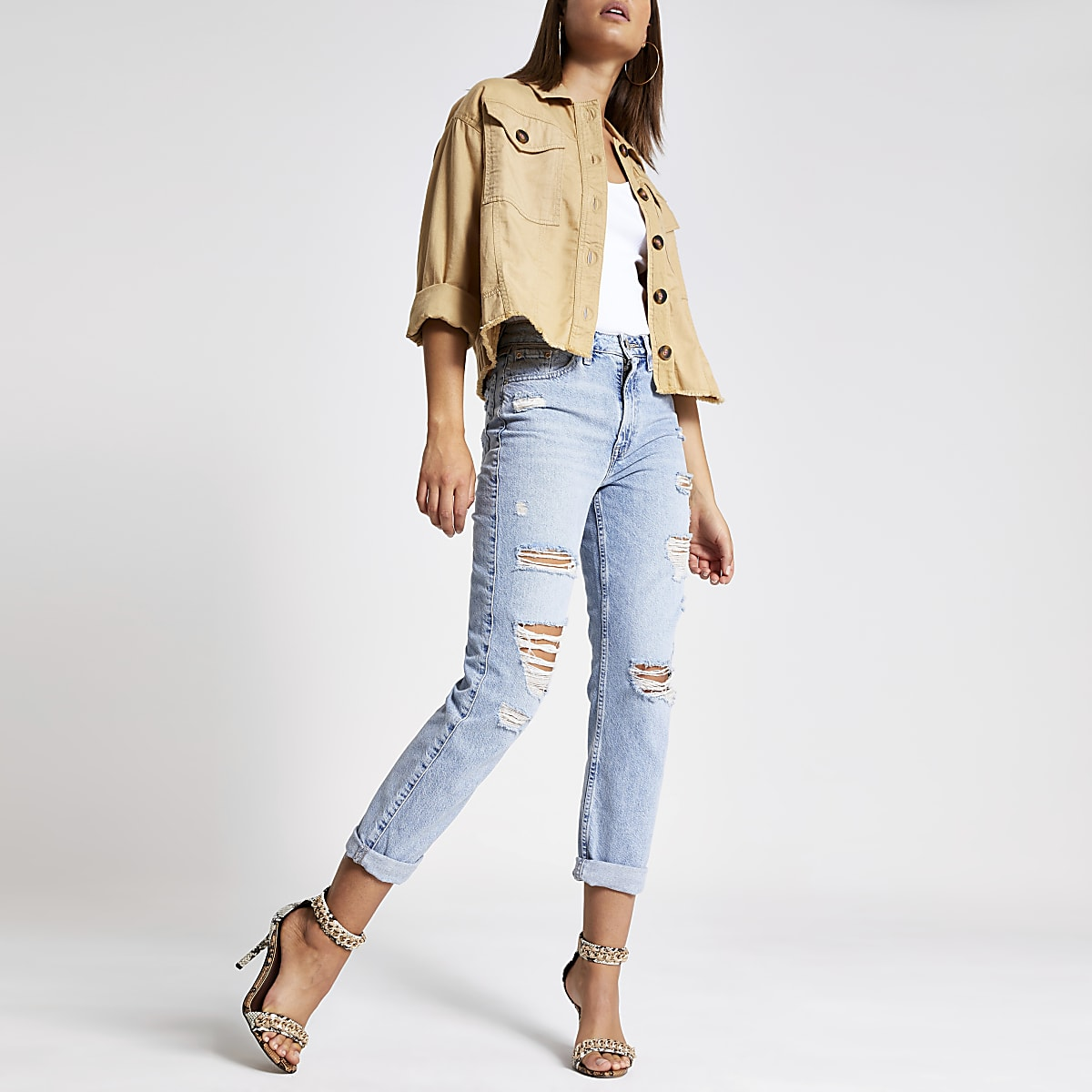 Lichtblauwe mom ripped jeans