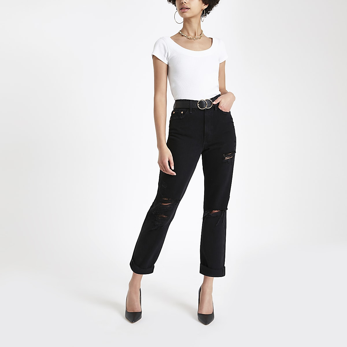 Black wash mom fit ripped jeans