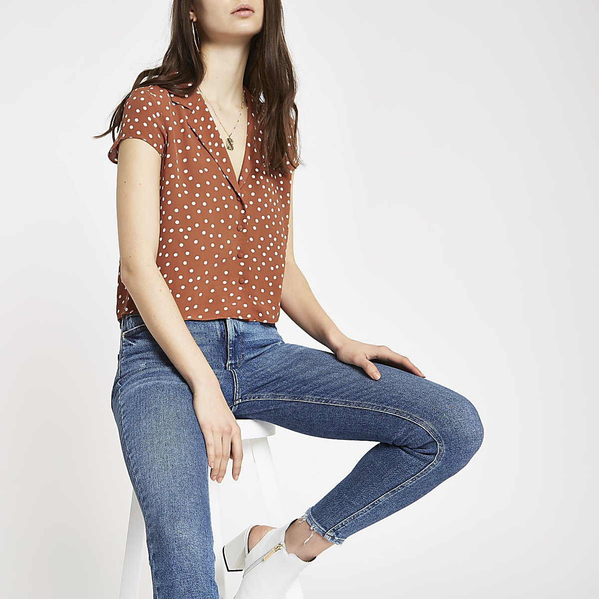 Brown polka dot crop shirt