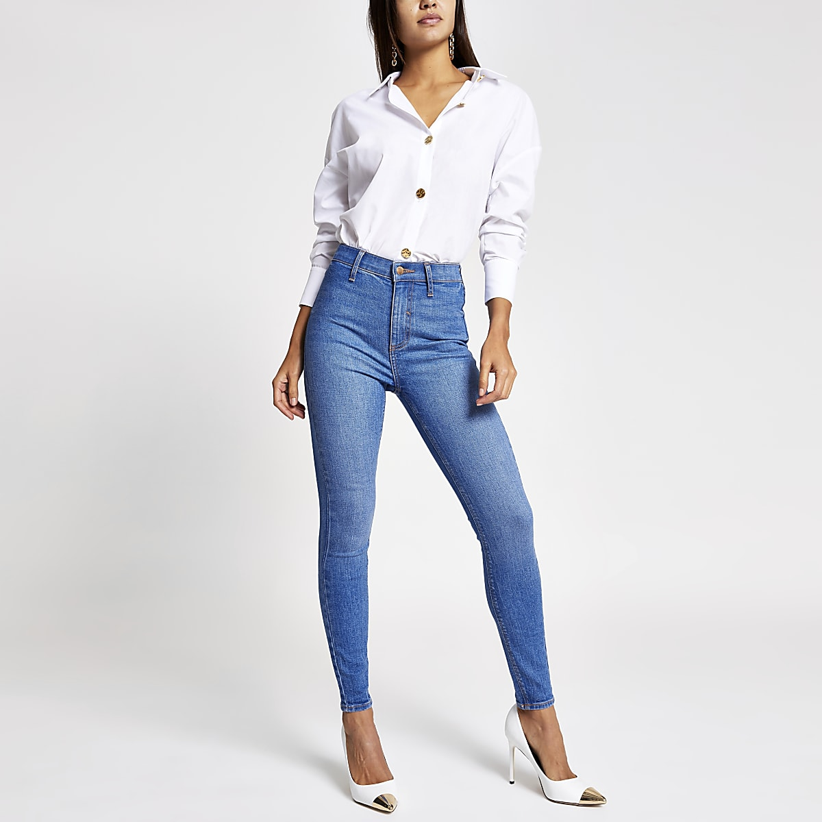 Bright blue Kaia high rise disco jeans