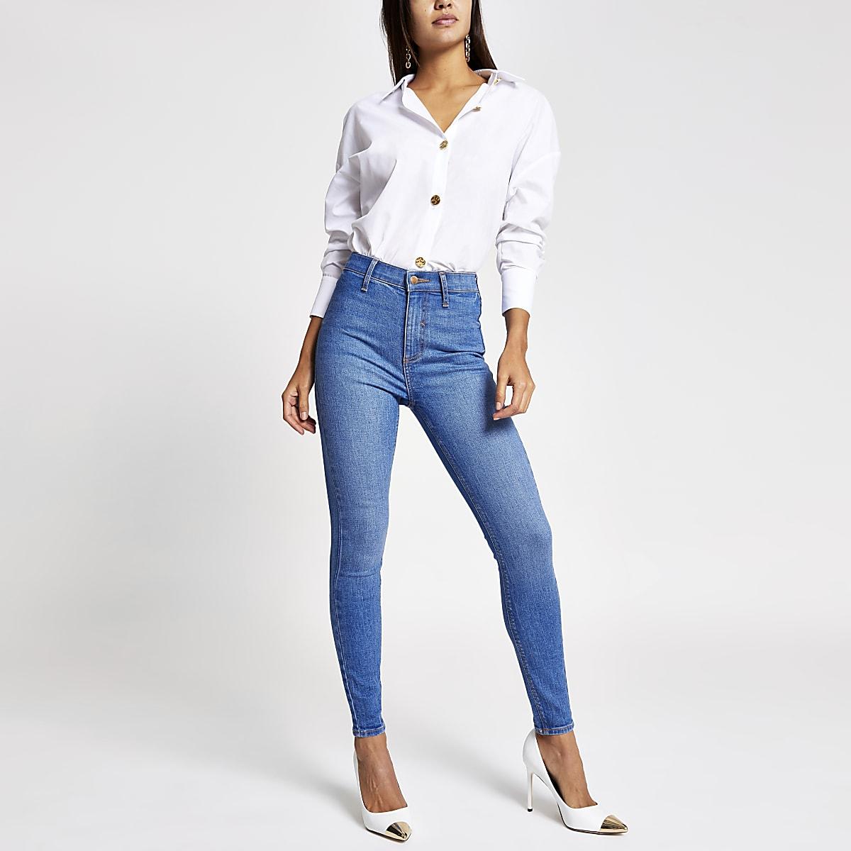 Bright blue Kaia high rise disco jeans