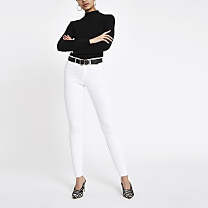 Molly - Witte jegging met halfhoge taille