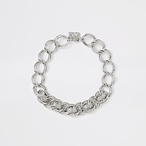 Silver colour diamante pave link necklace