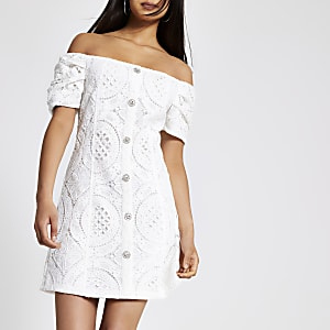 White bardot button front lace dress