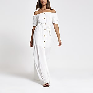 White bardot button front maxi dress