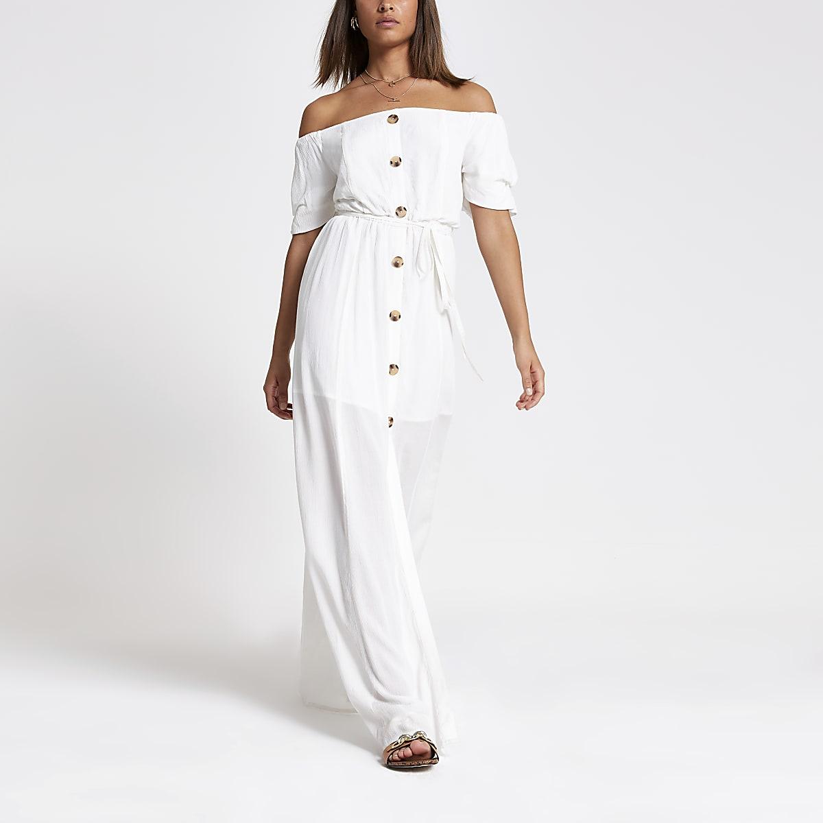 Witte bardot maxi-jurk met ruches en knopen voor