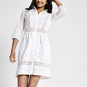 Robe chemise en broderie anglaise blanche