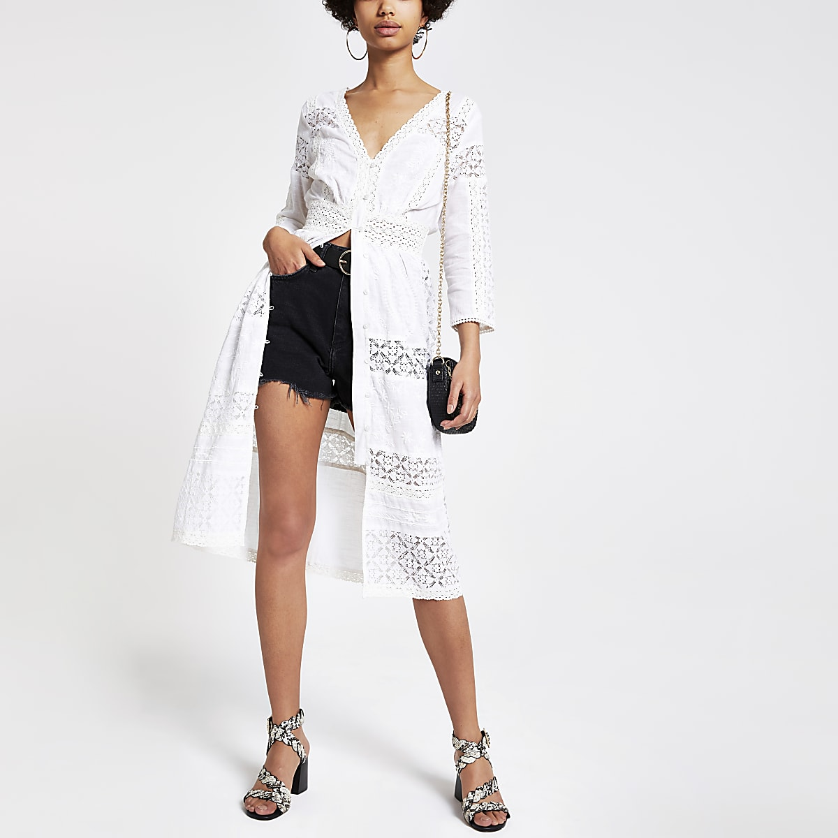 White embroidered shirt dress