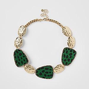 Green leopard print statement necklace
