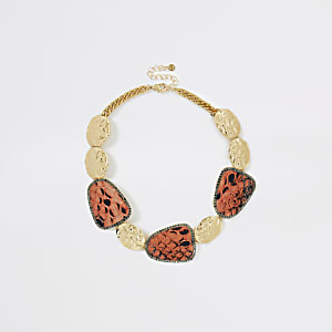 Orange snake print statement necklace