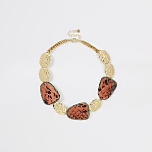 Orange snake print statement necklace