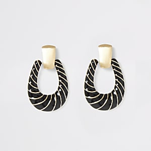 Gold colour black twist doorknocker earrings