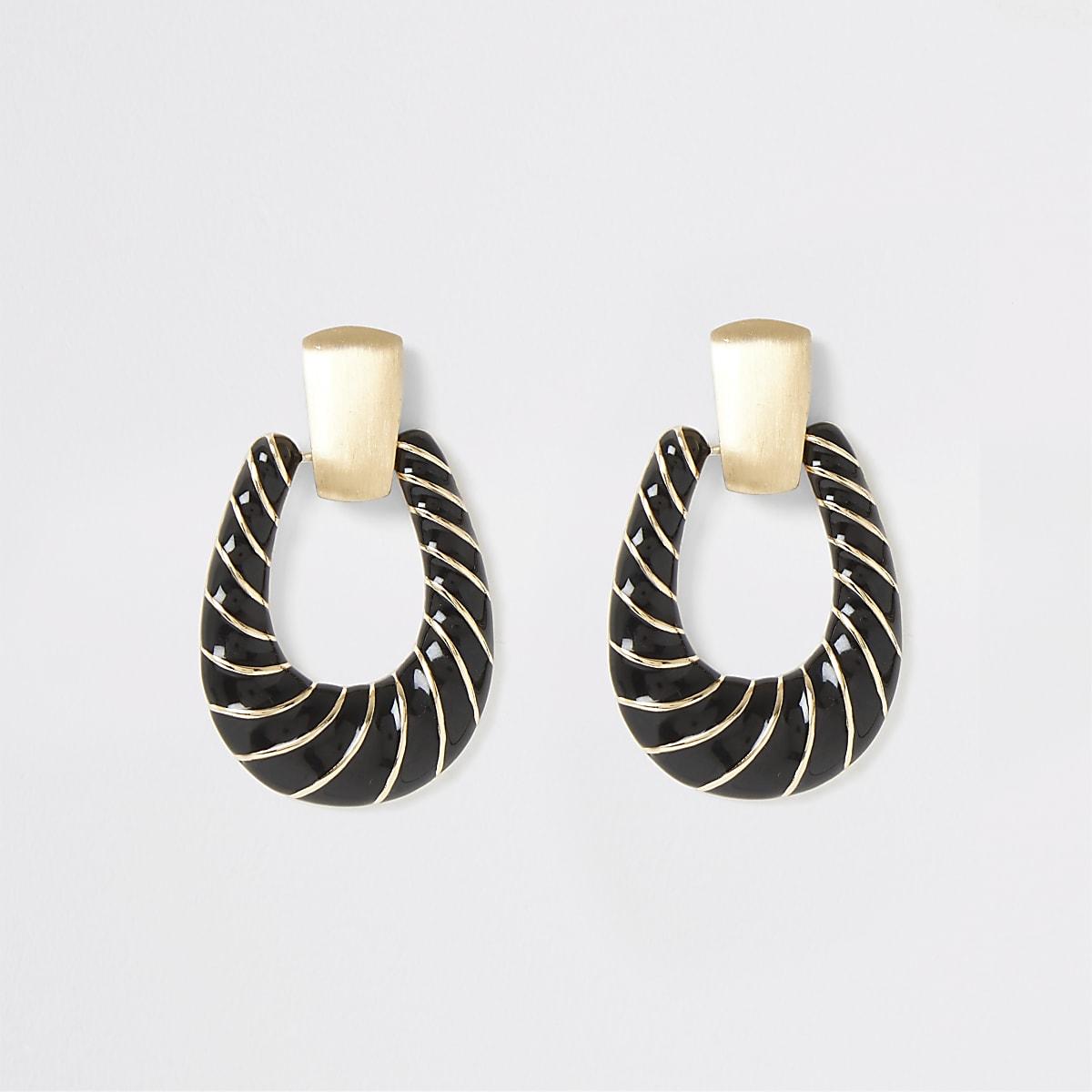 Gold colour black twist doorknocker earrings